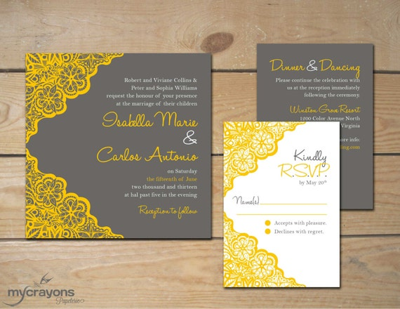 Printable Wedding Invitation Sets: Rustic Lace Wedding Invitation Set // DIY By