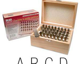 1.5mm 36 Pc ARIAL Font Letter and Number Set / Wooden Box, Jewelry stamping tools, stamps, metal stamps, metal stamping tools