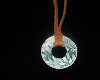 Broken China Necklace - Handmade Green Circle Shaped necklace made from a recycled broken plate OOAK -- Pendant