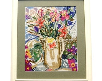 Cross Stitch Picture, Bouquet, Flowers, Floral, Cottage Chic, Shabby Chic, Handmade Cross Stitch, For Home, Gift Ideas, Spring