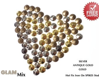 DIY Studs - 360 PCS 8 mm MIX of Gold Silver Antique Gold Spikes Studs Iron On, Hot Fix, or Glue On - Free Shipping