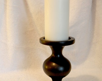 Elegant Satin Metallic Pillar Candle Holder