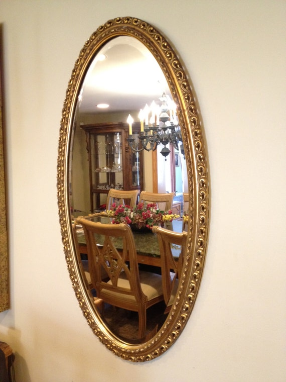 Vintage Oval Gilt Beveled Mirror