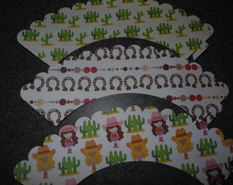 Cowgirl Celebration Cupcake Wrapper   Set of 12 Cactus