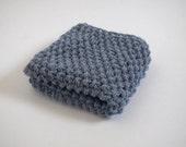 hand knit plushy cotton washcloth in stonewash faded denim blue