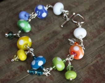 Spotty Lampwork and Sterling Silver Bracelet