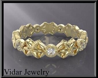 Wedding Band,Wedding Ring,Diamond Wedding band for her.band 14K gold,Unique wedding band,Diamond Wedding Ring,Custom.