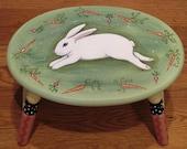 Hand Painted White Bunny Rabbit Step Stool