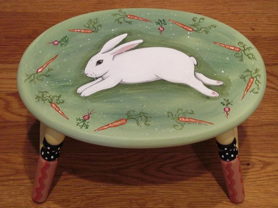Hand Painted  Bunny Rabbit Step Stool, gifts for the rabbit lover, Hand painted furniture, gifts for her