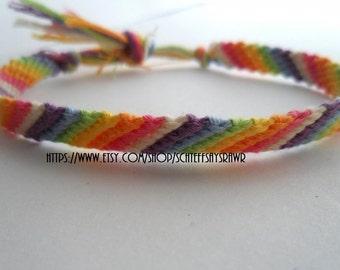 Rainbow Friendship Bracelet with White Stripe