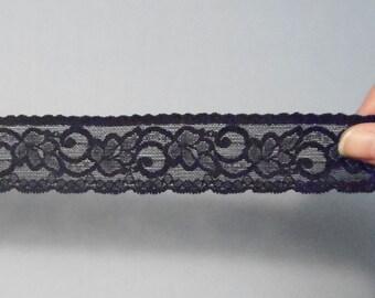 1 Yd of 1.5 Inch Wide Black Stretch Elastic Lace