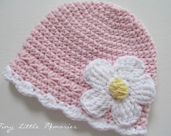Baby Crochet Hat, Baby Girl Hat with Flower, Pink Hat with Daisy, COLOR of your CHOICE, Baby/Toddler Girl Hat - Newborn, Up to 12 Months