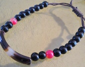 Black Glass Beaded and Agate Stone Adjustable Bracelet