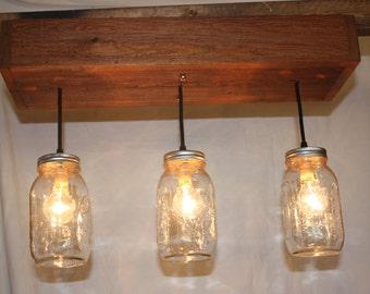 Three light cedar mason jar chandelier