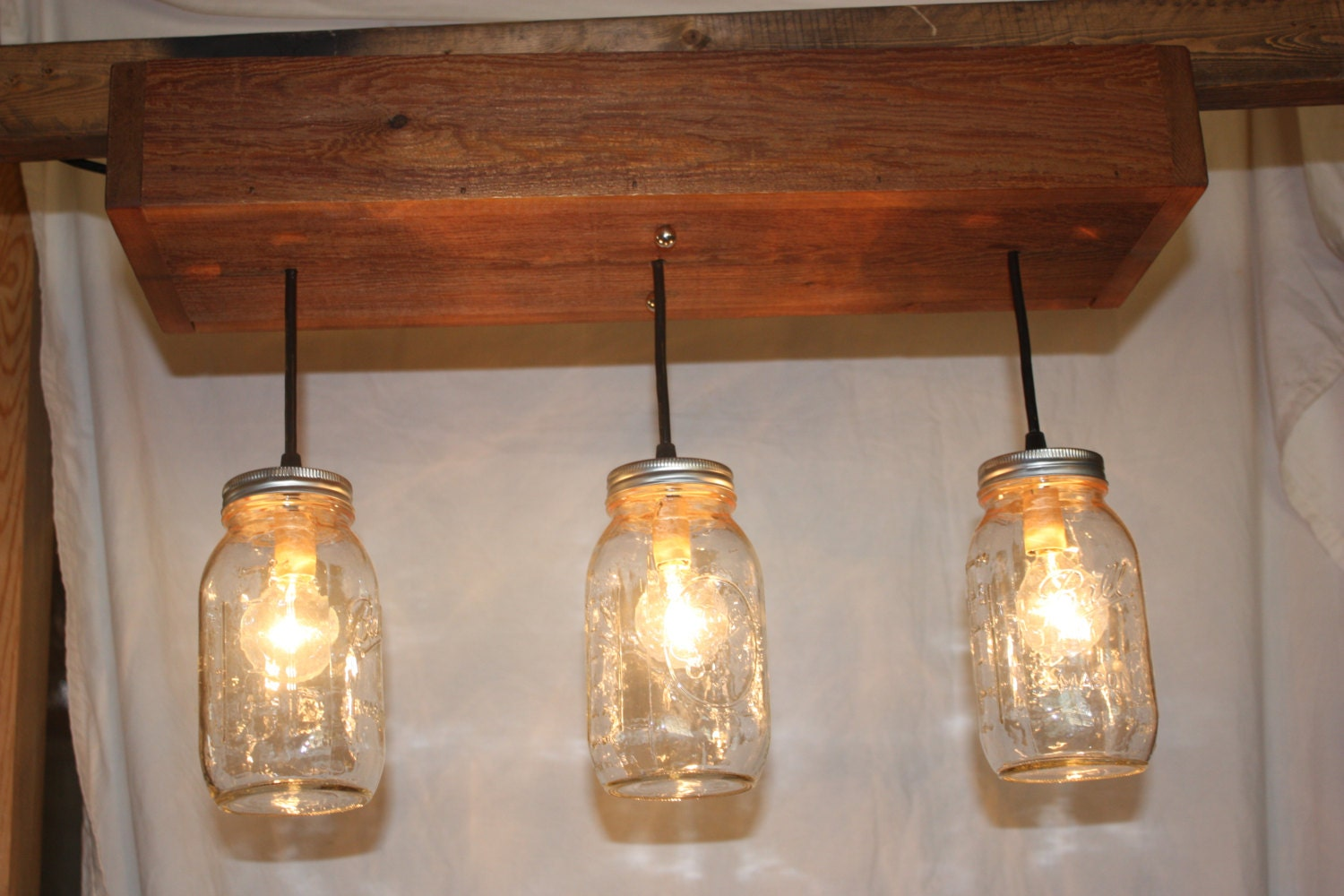 Three Light Cedar Mason Jar Chandelier