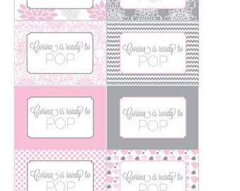 Pink and Grey Dahlia Printable Labels for Mini Champagne Bottles