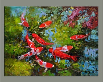 original painting,hand oil painting,impasto,hand oil on canvas,framed,ready to hang,huge 30''x40''  palette knife painting koi fish-OR35