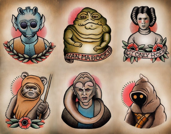 Star Wars Traditional Tattoo Flash Set 2 by ParlorTattooPrints