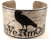 Edgar Allan Poe Nevermore Cuff, The Raven Jewelry, literary jewellery, Poe Quotes - accessoreads