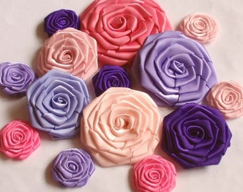 14 Handmade Ribbon Roses in Purple And Pink Combination MY-001 -30 Ready To Ship (On Sale)