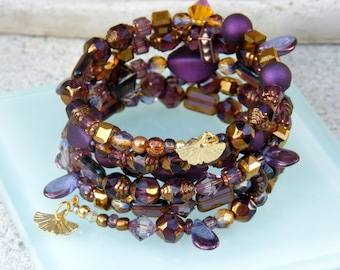 Plums and Gold Memory 5 Wire Bracelet