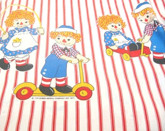 Vintage Raggedy Ann and Andy Twin Flat Sheet
