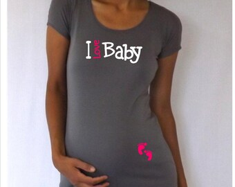 """Fun,cute, maternity Shirt """"I love baby"""" with footprints Perfect for a special occasion everyday use, cap sleeves"""