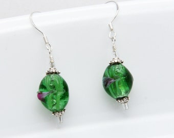 Green Lampwork Earrings, Handmade Beads, Lampwork Bead Earrings, Green Earrings, ETSY