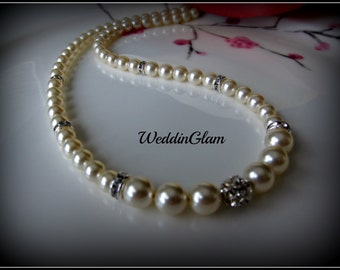 Classic bridal jewelry, wedding jewelry, bridesmaid, wedding necklace, bracelet, earrings, swarovski pearls, rhinestone ball