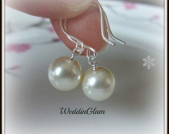 Wedding Earrings. Simple Pearl Earrings. Single Pearl Drop Earrings. Bridal Earrings. Ivory Pearl Earrings, Ivory Pearl Jewelry