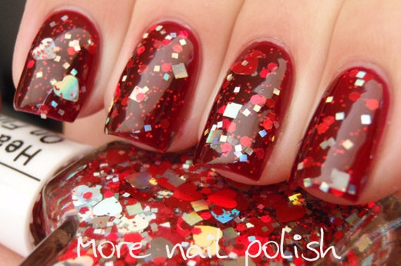 "Custom Blended Nail Polish - ""Hearts On Fire"" - Holographic Red Silver Hearts Square Hexagon Glitter - Lacquer"