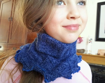 Super Cute, Amazingly Soft, Eco-Friendly, Recycled, UpCycled BLUE Acryclic Ear Warmer, Head Wrap Convertible Neck Warmer Scarf Head Band Hat