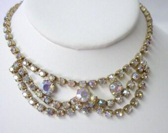 Vintage Aurora Borealis Rhinestone Bridal Wedding Bib Necklace
