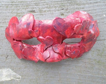 Candy colored red hearts mask, Mardi Gras Mask, one of a kind,  Costume mask, Masquerade ball,