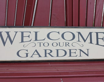 Welcome to our garden (11 x 38) beige with black lettering