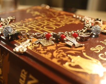 Custom Sherlock Holmes Jewelry - Beaded BBC Sherlock Charm Bracelet