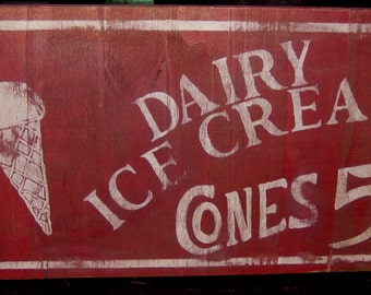 Distressed vintage inspired ice cream advertising sign