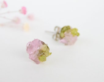 Spring studs - Peridot and rose quartz studs - Gemstone stud earrings