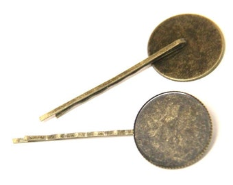 12 Pcs of hair bobby pin for 25mm cameo-M6009-Antique bronze