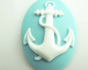 12 pcs of resin  anchor cameo 30x40mm-0331-whie on aqua blue