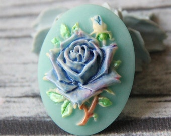 6pcs of hand painted pearlized resin rose cameo-RC0400-H5