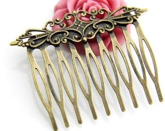 6 pcs of brass filigree comb 45mm-6021-antique bronze