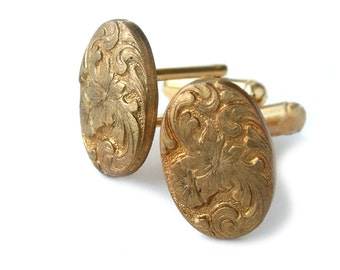 Vintage Gold Flower Leaf Oval Cufflink Gold Cufflink Wedding Cufflink Gift for Men by Lillian Fine Jewelry