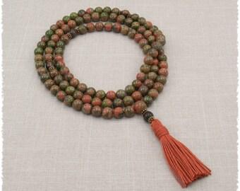 Unakite Mala Prayer Beads - Meditation Necklace - 108 Japa Mala - Yoga Beads - Item # 954