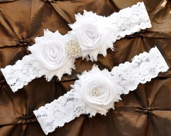 Garter Wedding, Garter Bridal - White Lace Garter, Keepsake Garter, Toss Garter, Shabby Chiffon White Wedding Garter Belt, White Garter Set