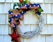 4th of July, Veterans Day, Patriotic Americana Memorial Day Wreath for the Front Door Burlap Flowers Red White and Blue