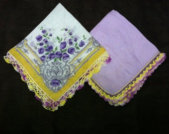 Two Springtime Colorful Handkerchiefs