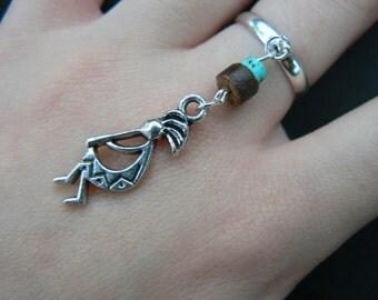 kokopelli ring, kachina ring, tribal ring, kokopelli, kachina charm, tribal,hipster, boho, gypsy, hippie