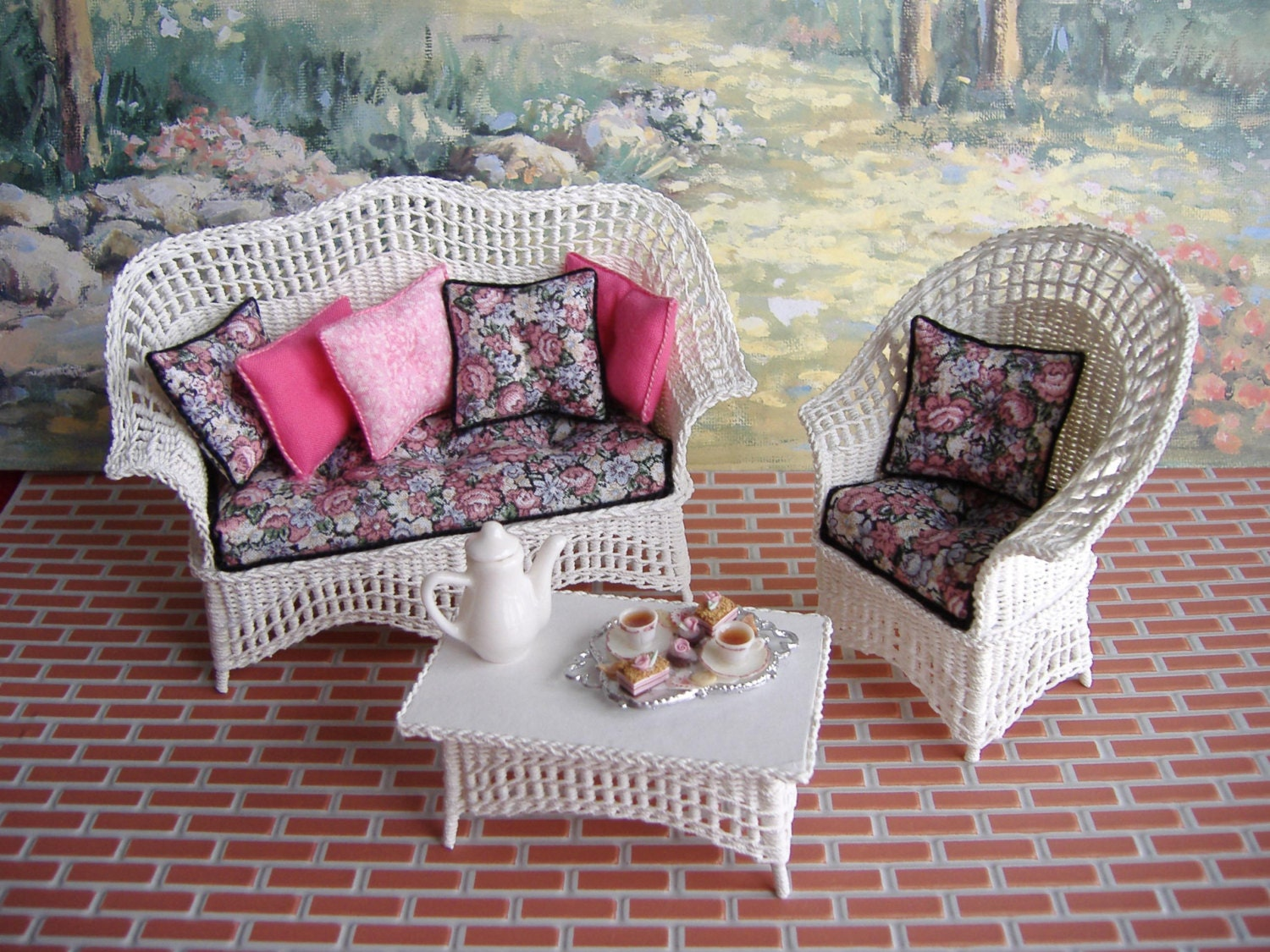 Dollhouse Miniature White Wicker Set Made In One Inch Scale