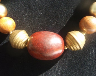 Choker necklace   Vintage wood and brass beaded Necklace   Collectible retro necklace Marked by maker